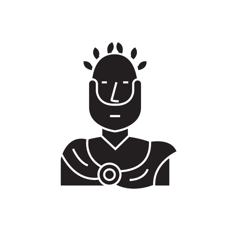 Roman emperor black vector concept icon. Roman emperor flat illustration, sign, symbol 일러스트