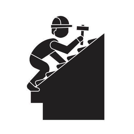 Roof repair black vector concept icon. Roof repair flat illustration, sign, symbol Vecteurs