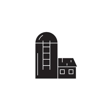 Silo, barn black vector concept icon. Silo, barn flat illustration, sign, symbol