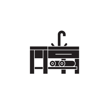 Sink with a faucet black vector concept icon. Sink with a faucet flat illustration, sign, symbol  イラスト・ベクター素材