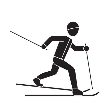 Skiing person black vector concept icon. Skiing person flat illustration, sign, symbol
