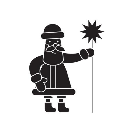 Santa claus with a wand black vector concept icon. Santa claus with a wand flat illustration, sign, symbol