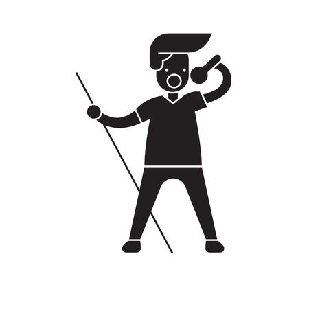 Rock star black vector concept icon. Rock star flat illustration, sign, symbol Foto de archivo - 126866916