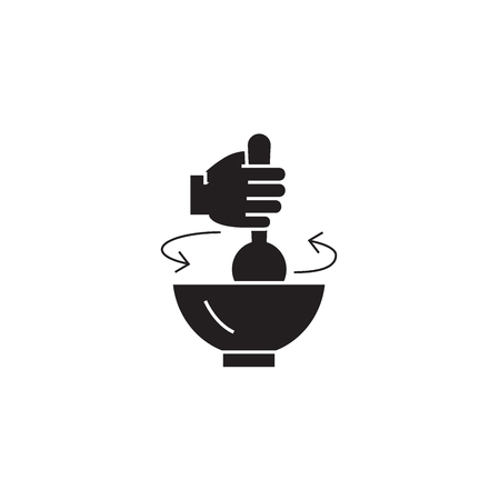 Stirring pot black vector concept icon. Stirring pot flat illustration, sign, symbol