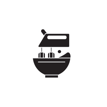Stand food mixer black vector concept icon. Stand food mixer flat illustration, sign, symbol Иллюстрация