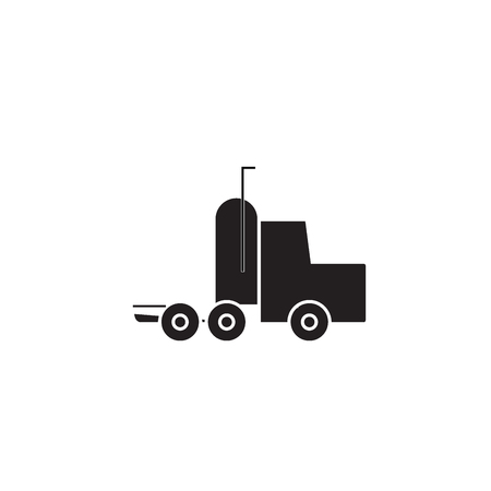 Semi truck black vector concept icon. Semi truck flat illustration, sign, symbol