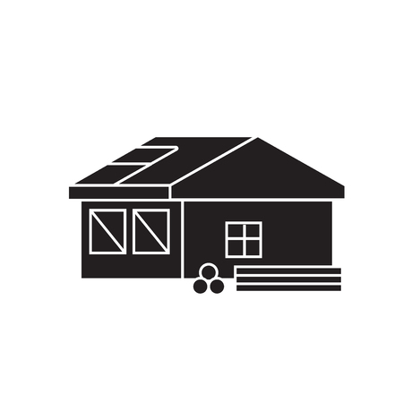 Roofing construction black vector concept icon. Roofing construction flat illustration, sign, symbol