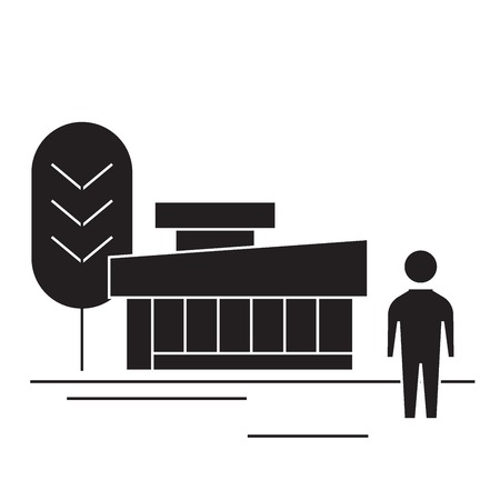 Station  black vector concept icon. Station  flat illustration, sign, symbol Illustration