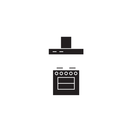 Stove with a vent black vector concept icon. Stove with a vent flat illustration, sign, symbol Illustration