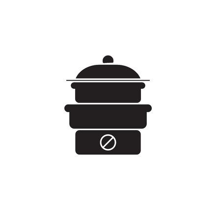 Steam cooker black vector concept icon. Steam cooker flat illustration, sign, symbol