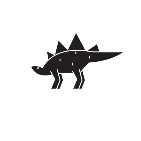 Stegosaurus black vector concept icon. Stegosaurus flat illustration, sign, symbol Illustration
