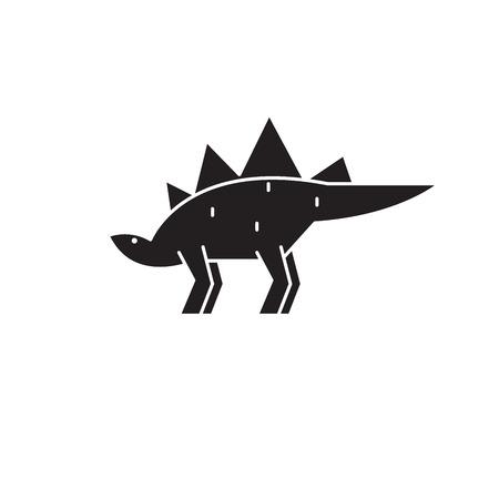 Stegosaurus black vector concept icon. Stegosaurus flat illustration, sign, symbol Illustration