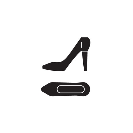 Stilettos black vector concept icon. Stilettos flat illustration, sign, symbol