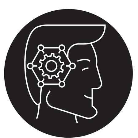 Icono de concepto de vector negro cabeza de pensamiento estratégico. Ilustración plana cabeza de pensamiento estratégico, signo, símbolo