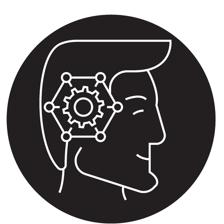 Strategic thinking head black vector concept icon. Strategic thinking head flat illustration, sign, symbol  イラスト・ベクター素材
