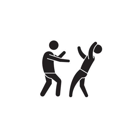 Street fight black vector concept icon. Street fight flat illustration, sign, symbol