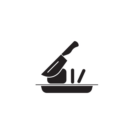 Slicing food black vector concept icon. Slicing food flat illustration, sign, symbol