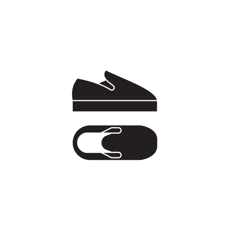 Slip-on shoes black vector concept icon. Slip-on shoes flat illustration, sign, symbol