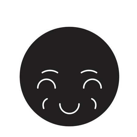 Sly emoji black vector concept icon. Sly emoji flat illustration, sign, symbol