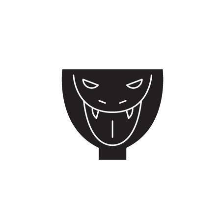 Snake head black vector concept icon. Snake head flat illustration, sign, symbol Illustration