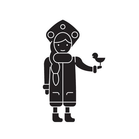 Snow maiden with a bird black vector concept icon. Snow maiden with a bird flat illustration, sign, symbol