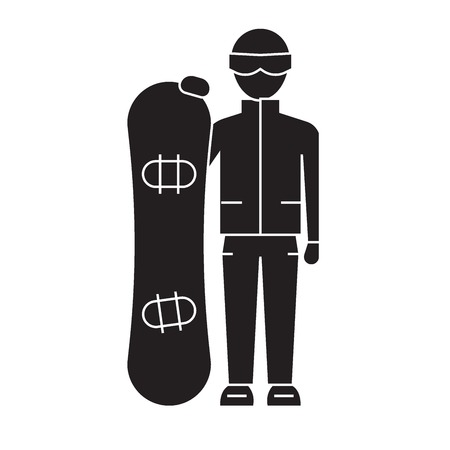 Snowboarder black vector concept icon. Snowboarder flat illustration, sign, symbol Ilustracja