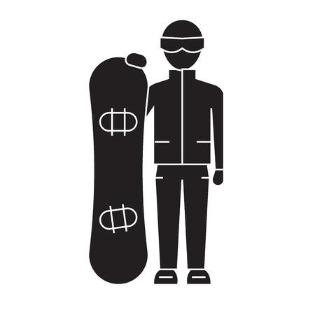 Snowboarder zwarte vector concept pictogram. Snowboarder vlakke afbeelding, teken, symbool