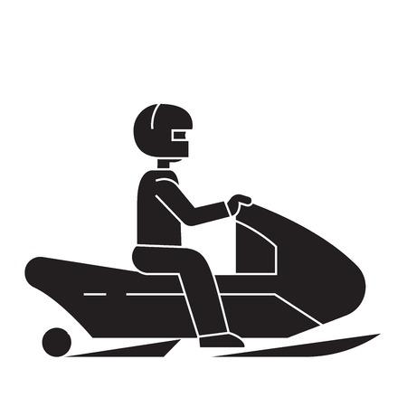 Snowmobile black vector concept icon. Snowmobile flat illustration, sign, symbol Vecteurs