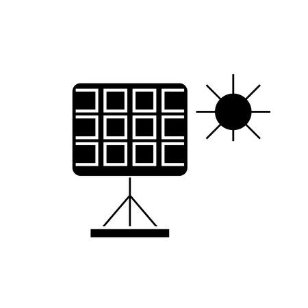Solar panel black vector concept icon. Solar panel flat illustration, sign, symbol