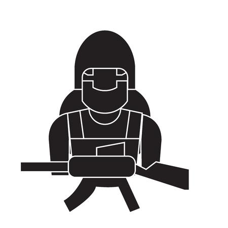 Soldier equipment black vector concept icon. Soldier equipment flat illustration, sign, symbol