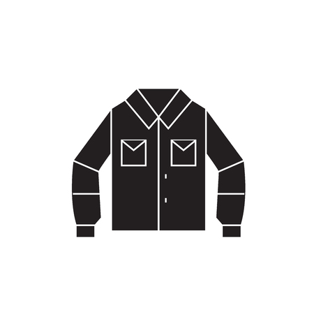 Sport shirt black vector concept icon. Sport shirt flat illustration, sign, symbol