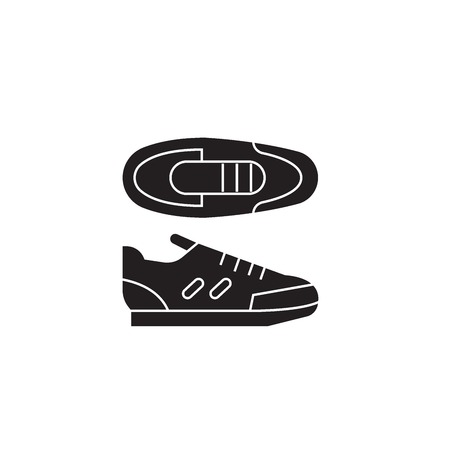 Sport sneakers black vector concept icon. Sport sneakers flat illustration, sign, symbol  イラスト・ベクター素材