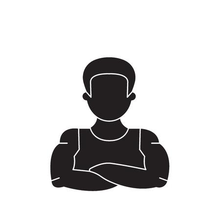 Icône de concept de vecteur noir homme fort. Télévision homme fort illustration, signe, symbole
