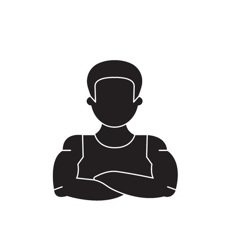 Strong man black vector concept icon. Strong man flat illustration, sign, symbol