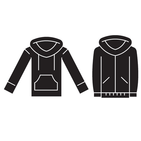 Sweatshirt hoodie black vector concept icon. Sweatshirt hoodie flat illustration, sign, symbol Illustration
