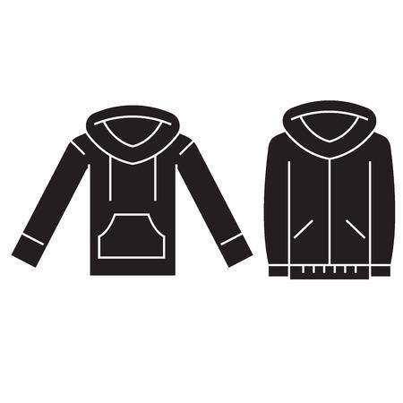 Sweatshirt hoodie black vector concept icon. Sweatshirt hoodie flat illustration, sign, symbol Çizim