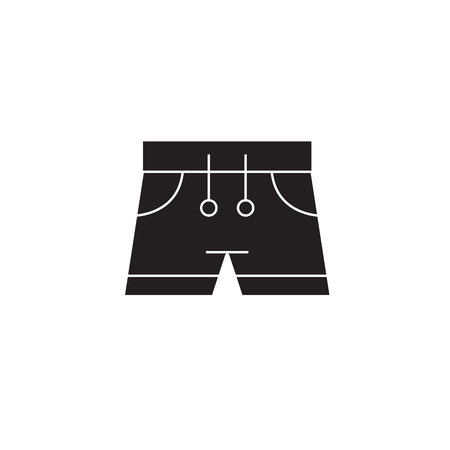Swimming trunks black vector concept icon. Swimming trunks flat illustration, sign, symbol