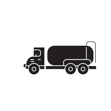 Tank truck black vector concept icon. Tank truck flat illustration, sign, symbol
