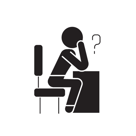 Thinking person with question black vector concept icon. Thinking person with question flat illustration, sign, symbol