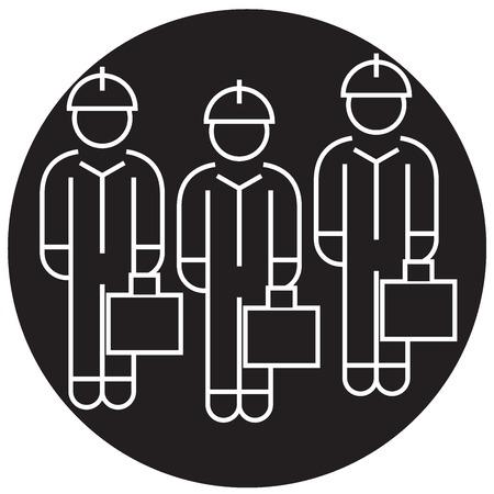 Technician team black vector concept icon. Technician team flat illustration, sign, symbol