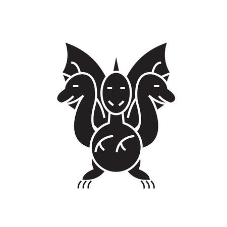 Three-headed snake black vector concept icon. Three-headed snake flat illustration, sign, symbol Illustration