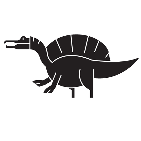 Spinosaurus black vector concept icon. Spinosaurus flat illustration, sign, symbol