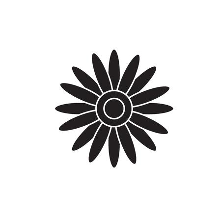 Sun flower black vector concept icon. Sun flower flat illustration, sign, symbol