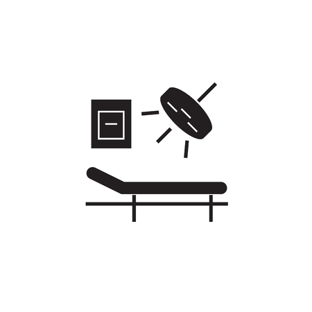 Surgery room black vector concept icon. Surgery room flat illustration, sign, symbol