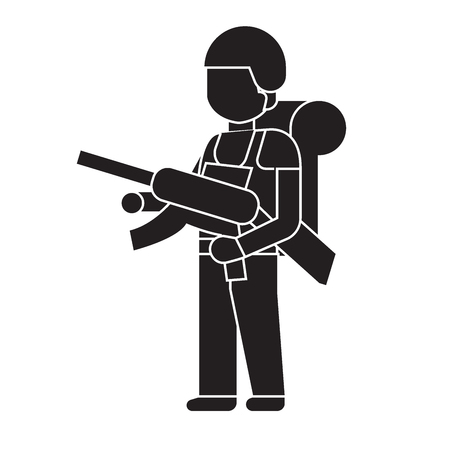 Soldier with a rifle black vector concept icon. Soldier with a rifle flat illustration, sign, symbol