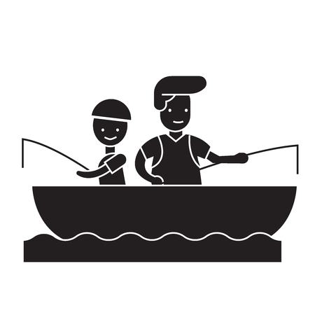 Hijo y papá pescando concepto vector icono negro. Hijo y papá pescando ilustración plana, signo, símbolo