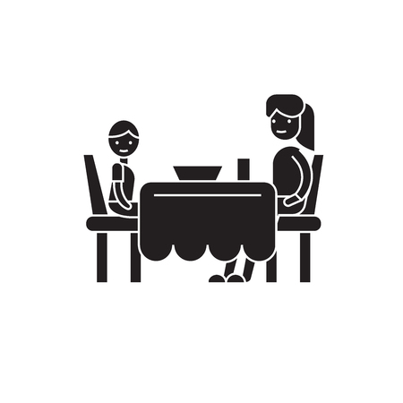 Son and mom having dinner black vector concept icon. Son and mom having dinner flat illustration, sign, symbol Ilustração
