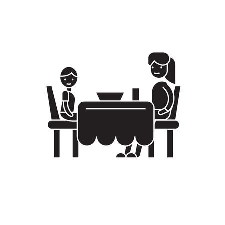 Zoon en moeder eten zwart vector concept icoon. Zoon en moeder eten platte illustratie, teken, symbool Vector Illustratie