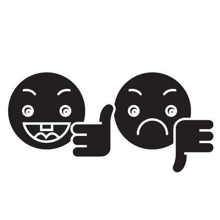 Pollice su, giù icona del concetto di vettore nero emoji. Pollice su, giù emoji illustrazione piatta, segno, simbolo