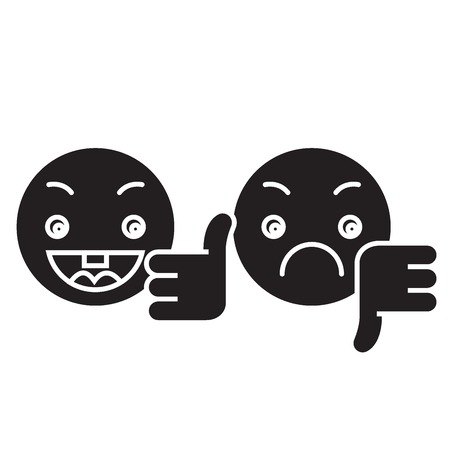 Thumbs up, down emoji black vector concept icon. Thumbs up, down emoji flat illustration, sign, symbol
